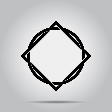 Black circle and square abstract form. Geometric art. Design element for logo, sign, symbol, tattoo, prints, web pages, template, monochrome pattern and abstract background