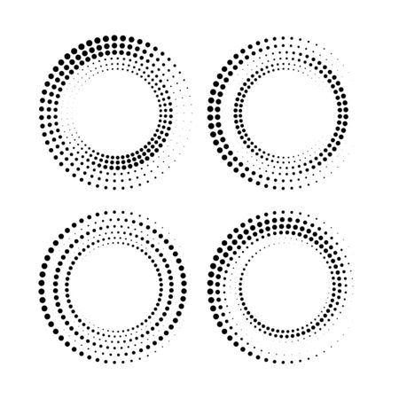 Set of vector halftone dots in circle form. Geometric shape. Monochrome background. Design elements for border frames for pictures, web pages, prints, template, and textile pattern Vektorgrafik