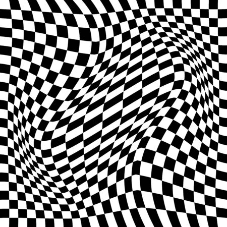 Distorted checker board. Monochrome background. Vector illustration. Trendy pattern for web, prints, template, posters and textile design Vecteurs