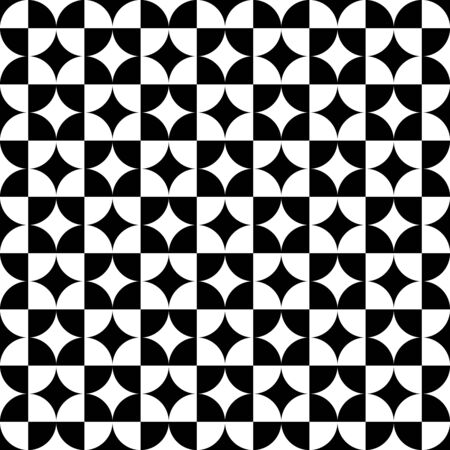 Black and white squares and circles. Abstract monochrome background. Optical art. Modern pattern for web pages, prints and textile design