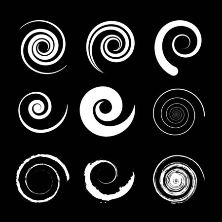 Set of white spiral shapes on a black background. Vector illustration. Trendy element for web pages, prints, textile, geometric tattoo, pattern and template design