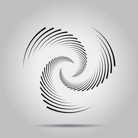 Black speed lines in spiral form. Geometric art. Trendy design element for tattoo, sign, symbol, web pages, prints, posters, template, pattern and abstract background