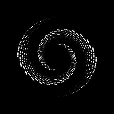 White tiny halftone squares in spiral form. Geometric art. Trendy design element for tattoo, sign, symbol, web pages, prints, posters, template, pattern and abstract background Vector Illustration
