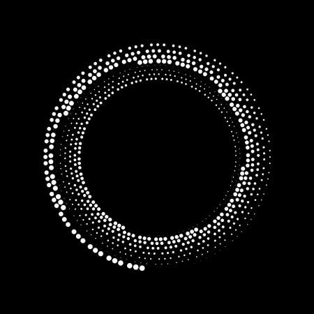 Abstract white halftone dots shape in circle form. Geometric art. Trendy design element for tattoo, sign, symbol, web pages, prints, posters, template, pattern and abstract background