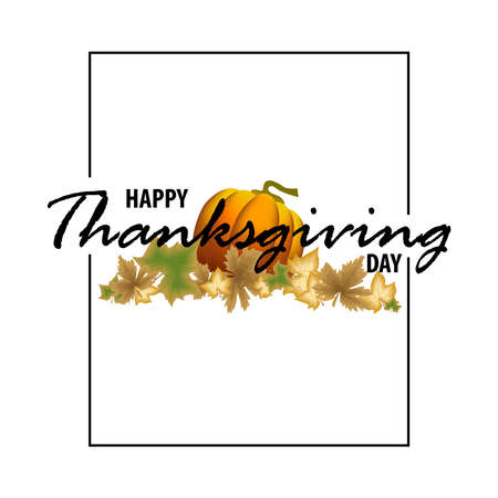 Happy Thanksgiving vector handwritten black text. Vector illustration for web pages, prints, template, gift, invitation and greeting card