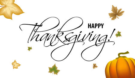 Happy Thanksgiving vector black handwritten text. Lettering inscription. Vector illustration for web pages, prints, template, gift, invitation and greeting card 向量圖像
