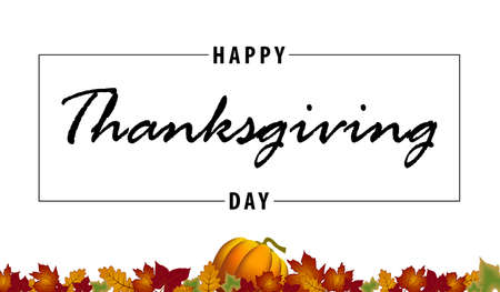 Happy Thanksgiving Day black vector handwritten text. Lettering inscription. Vector illustration for web pages, prints, template, gift, invitation and greeting card 일러스트