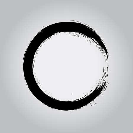 Black hand drawn circle shape. Vector illustration. Black Enso Zen symbol. Circular label, logo, text frame, banner, badge. Grunge design element. Isolated. Distress texture. Ink brush strokes Logo
