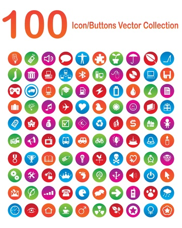resizable: Simple and clean icon buttons pack  100 pieces suitable for any project  Full resizable and editable  Illustration