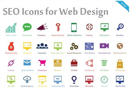 iconos: una colección de 32 iconos creativos apropiados para cualquier optimización de motores de búsqueda y servicios de web marketing que puede utilizar este conjunto para varios propósitos como sitios web, plantillas de impresión, plantillas de presentación, ilustraciones