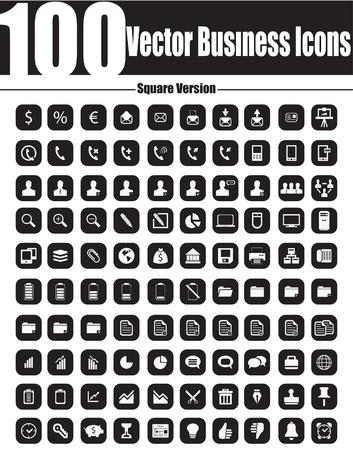Este es un paquete de calidad fresco, creativo y muy alta de 100 iconos de negocios adecuados para proyectos de diseño web Características principales 100 iconos de negocios, llenos editable, fácil de cambiar de color y cambiar el tamaño de Ilustración de vector
