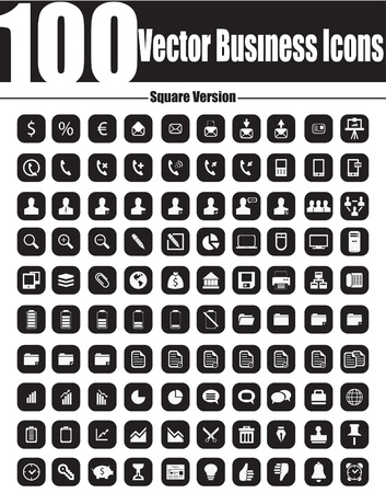 This is a cool, creative and very high quality pack of 100  business icons suitable for web design projects  Main features 100  business icons,  full editable, easy to change color and resize Stock Vector - 18466800
