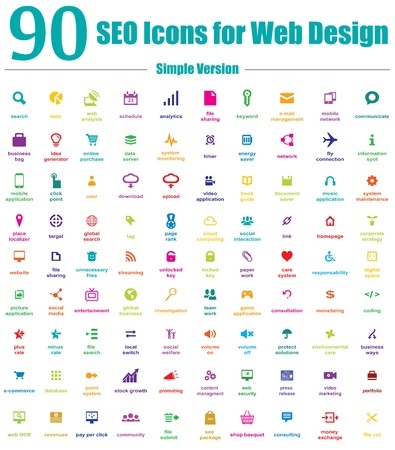 png: This is a cool, creative and very high quality pack of 90 SEO icons suitable for web and mobile design projects. Main features: 90 vector SEO Icons, vector file, full editable, easy to change color and resize.