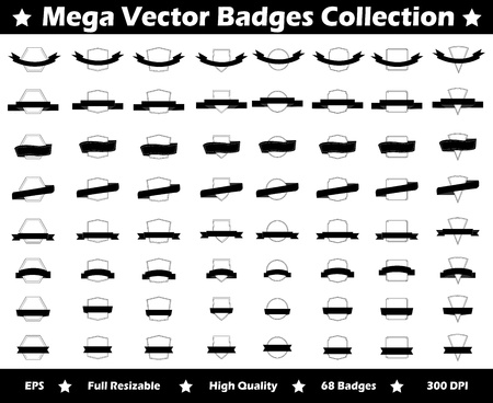 This is a simple, elegant and professional collection of vectorized badges suitable for your logo or design projects. They are a total of 64 vector badges. It is very easy to change the color and size. Illustration