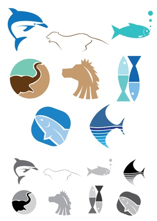 This is a set of vector abstract animals icons suitable for several projects.