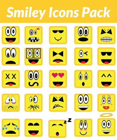 This is a simple, elegant and professional set of vectorized smile icons suitable for your web and mobile projects. They are a total of 25 differents expressions. Illustration