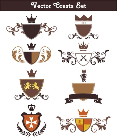 resizable: This is a set of vector crests suitable for several projects. They are full editable and resizable. Illustration