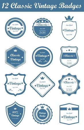 Dit is een leuke, eenvoudige en elegante set van klassieke vintage badges geschikt is voor uw grafische en web-projecten. Ze zijn volledig verstelbaar en kan worden bewerkt. Stock Illustratie