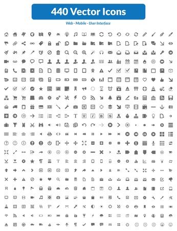 Dit is eenvoudig, schoon, uniek en van hoge kwaliteit set van pictogrammen geschikt voor web, mobiel en interface-projecten gebruiker Gemakkelijk 440 hoge kwaliteit iconen en symbolen formaat