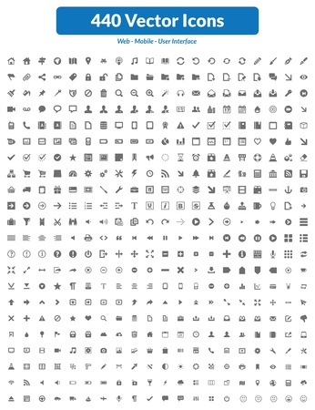 This is simple, clean, unique and high quality set of icons suitable for web, mobile and user interface projects  Easy to resize  440 high quality icons and symbols Stock Vector - 19869985