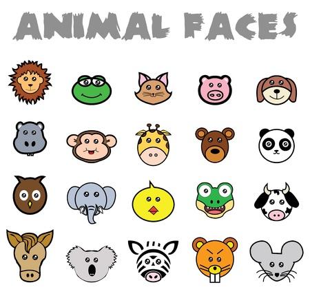 Dit is een grote verzameling van dieren gezichten. Het is volledig aanpasbaar en resizeable Stock Illustratie