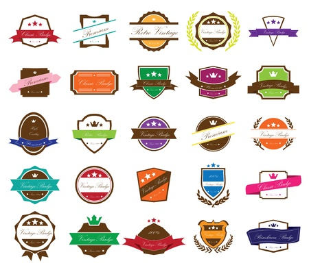 Set of vintage badges  Vintage premium quality labels  Vector illustration  Full editable and resizable