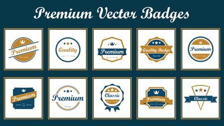 resizable:  Set of vintage badges  Vintage premium quality labels  Vector illustration  Full editable and resizable  Elegant and modern suitable for several purposes  Illustration