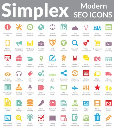 Set of simple, clean and modern SEO Services   Web Designer Icons  Suitable for wide media templates like  Web Marketing Agency Services, Social Media Services Showcase, Websites, Presentations, Promotional Materials, illustrations or Infographics  Vettoriali