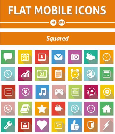 Mooie, eenvoudige en elegante set van 35 vector pictogrammen geschikt is voor uw grafische en web-projecten mobiel, websites, presentaties, infographics, gebruikersinterfaces en print. Stock Illustratie