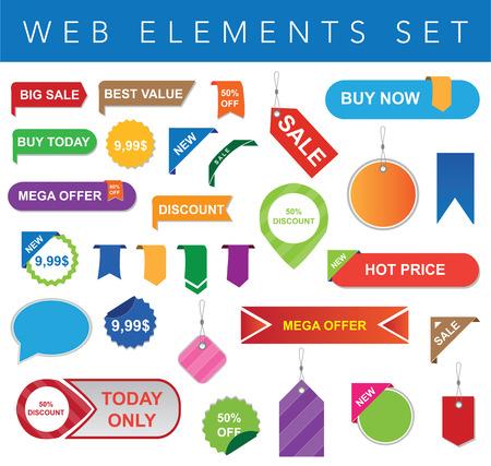 Dit is een vector set van labels en stickers die geschikt zijn voor elke vorm van web-projecten. Volledige bewerkbare en resizable. Stock Illustratie