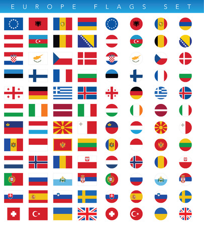This is a simple clean and unique set of vectorized Europe countries flags. Full editable and resizable. Good for several projects.