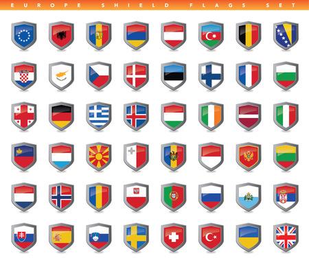 Dit is een eenvoudige schoon en unieke set van gevectoriseerd Europa landen vlaggen. Volledige bewerkbare en resizable. Goed voor meerdere projecten. Stock Illustratie