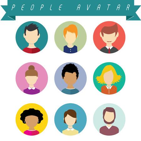 Set van vetor mensen avatar. Volledige bewerkbare. Stock Illustratie