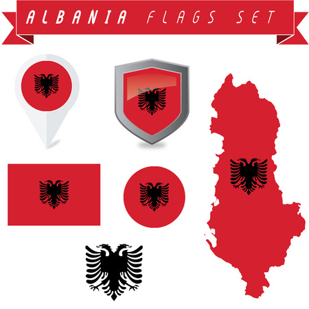 Set of vetor Albania flags. Full editable. Illustration