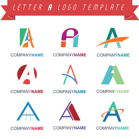 Set of vetor letter A logo templates. Full editable.