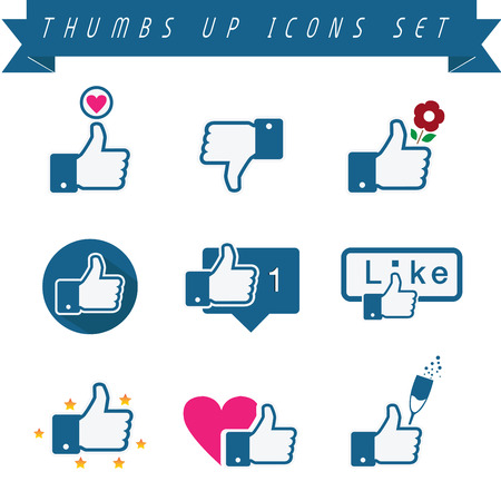 like icon: Set of vetor thumbs up icons. Fully editable