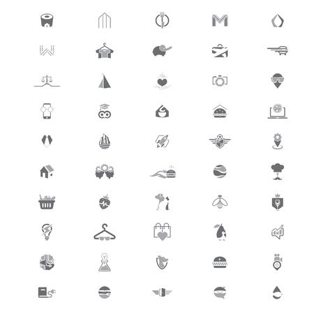 Set van 50 creatieve logo templates geschikt voor meerdere zaken. 100% Vector en gemakkelijk te bewerken.