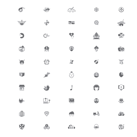 suitable: Set of 50 creative logo templates suitable for several business. 100% Vector and easy to edit. Illustration