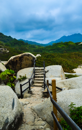 enviroment: photo taken in national park Tayrona in Colombia, it is close to the beach in a tropical enviroment Stock Photo