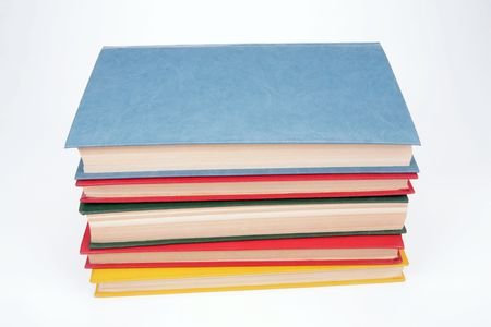 flotation: Five thick books on a white background