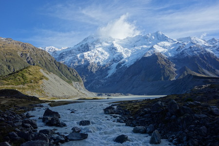 Hooker River in Aoraki national park New Zealand photo