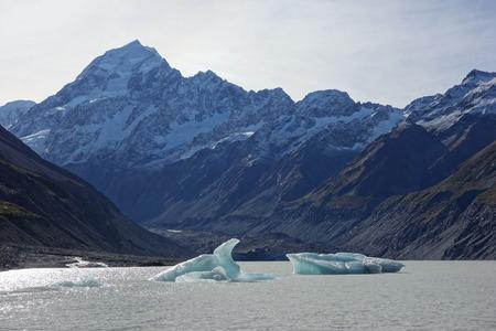 hooker: Hooker Glacier Lake in Aoraki National Park New Zealand Stock Photo