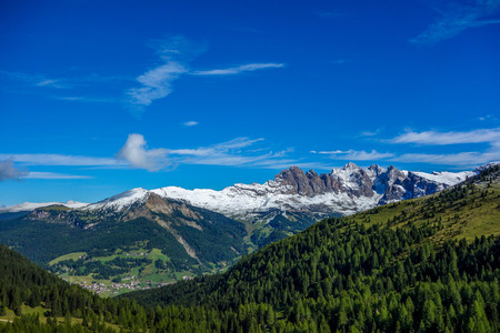 Beautiful scenery in Dolomites mountains of northern Italy photo