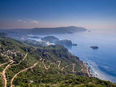 Paleokastritsa village on Corfu Greek island Stock Photo