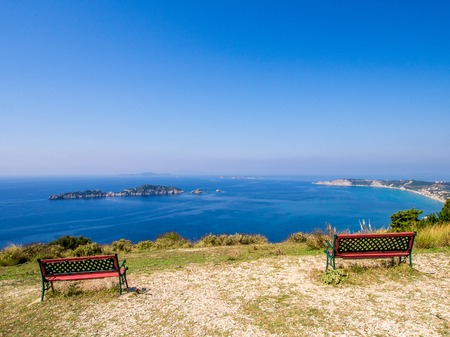 Agios Stefanos cape from Afionas on Corfu Greek island