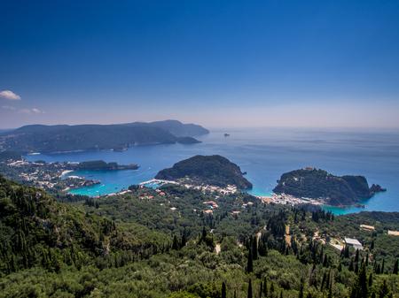 paleokastritsa: Paleokastritsa village on Corfu Greek island Stock Photo