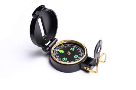 Black and gold plastic compass on white background