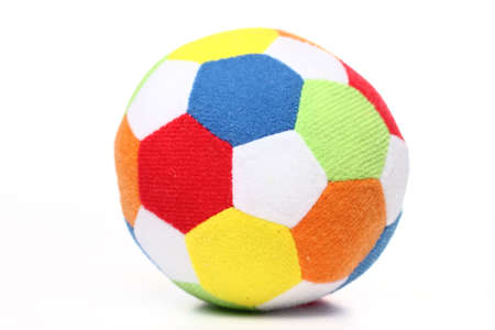 Toy soccer ball made from multicolored patches of cloth Stock Photo