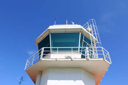 atc: Dome of airport control tower against clear blue sky Stock Photo