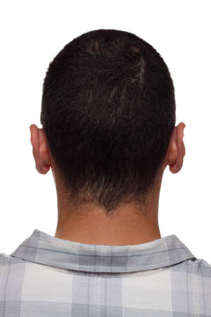 Back of mans head and neck, branded with engraved letters like on leather product, cloning concept Stock Photo